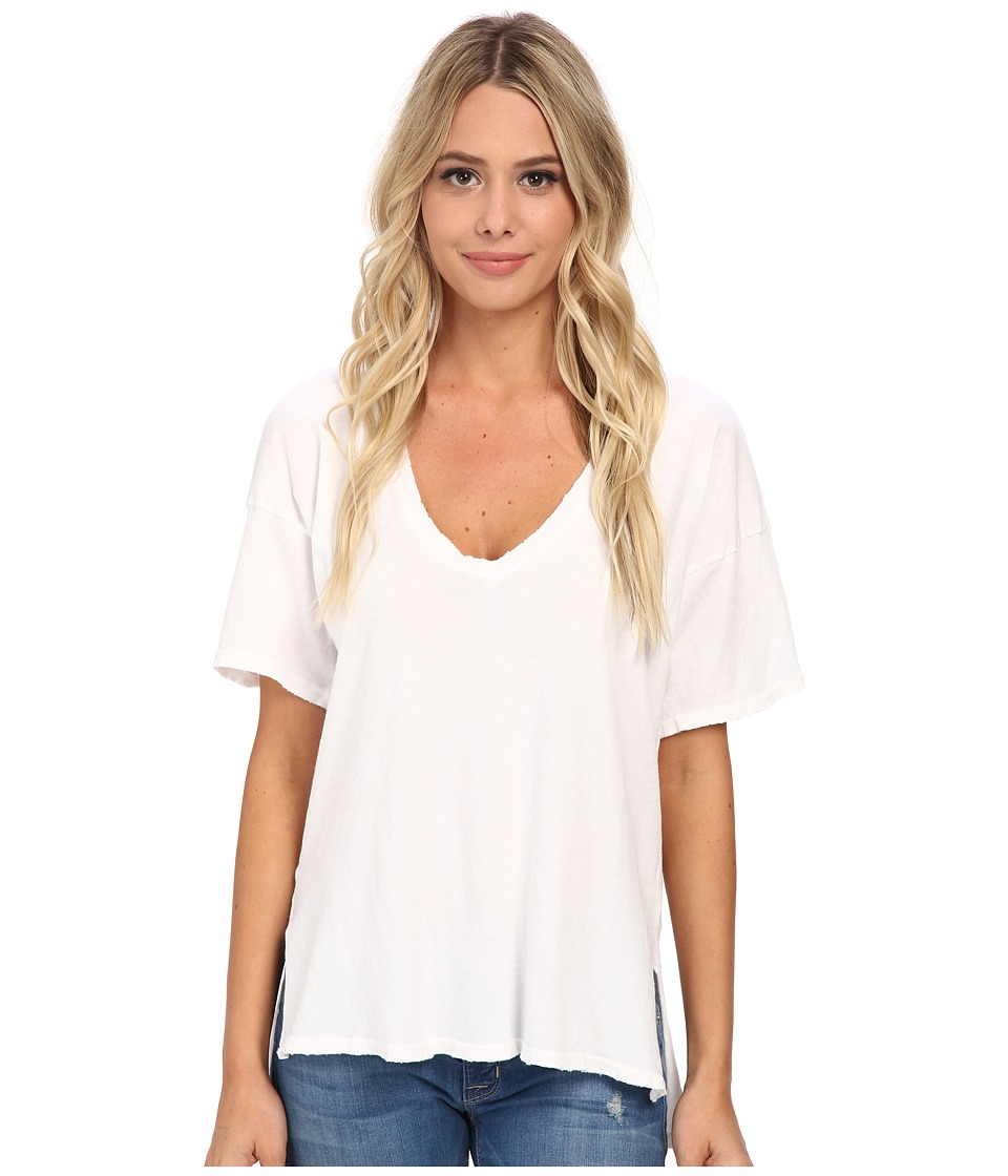 Michael Stars - Worn In Short Sleeve Vee Neck Hi Low (White) Women's Clothing