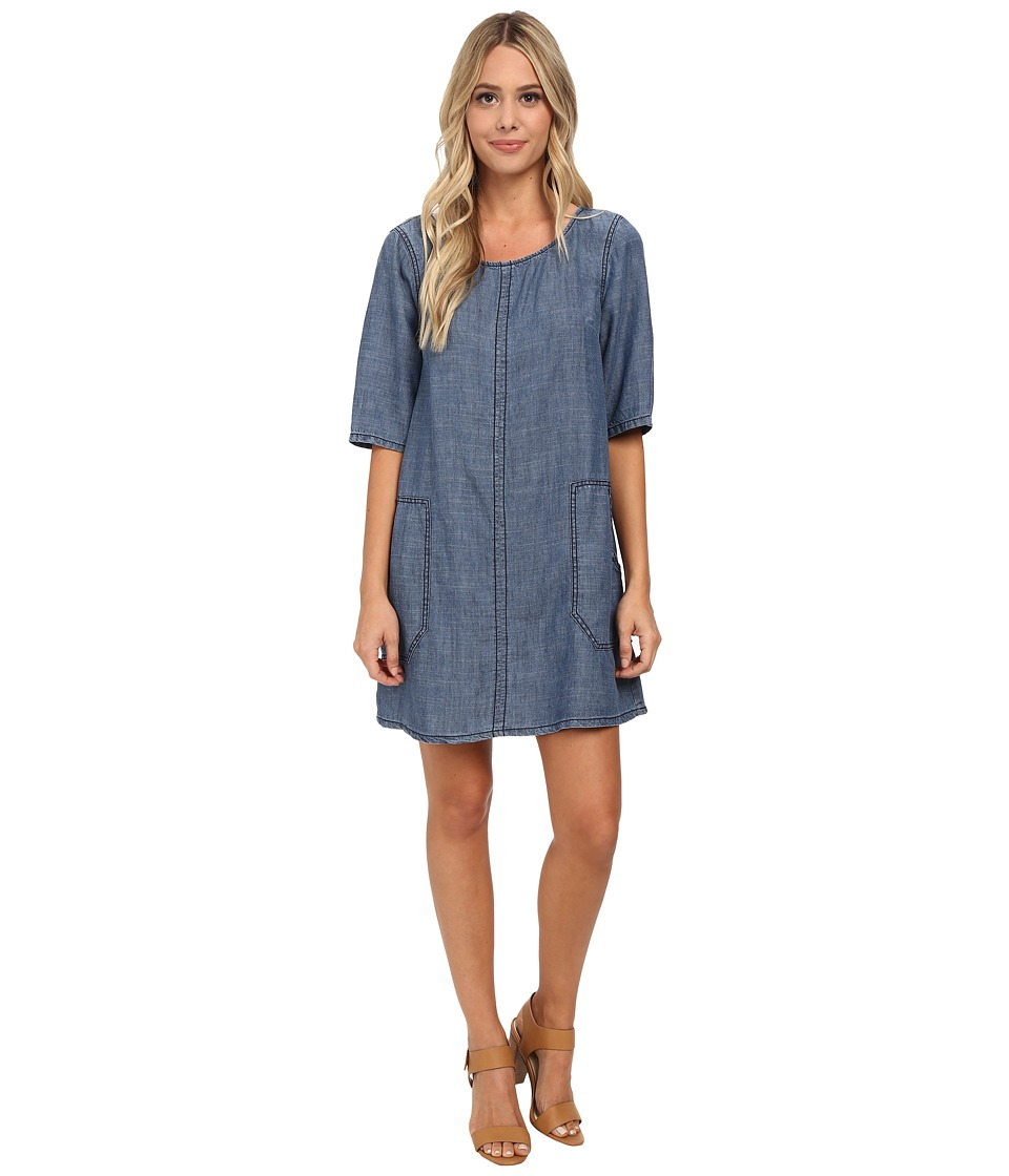 Michael Stars - Linen Denim Tencel Shift Dress (Sunfaded) Women's Dress