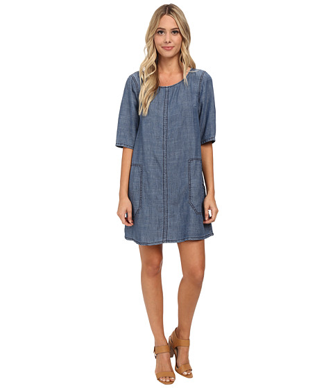 Michael Stars - Linen Denim Tencel Shift Dress (Sunfaded) Women