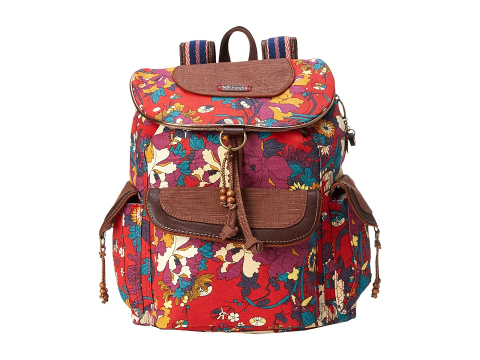 Sakroots - Sakroots Artist Circle Flap Backpack (Crimson Flower Power) Backpack Bags