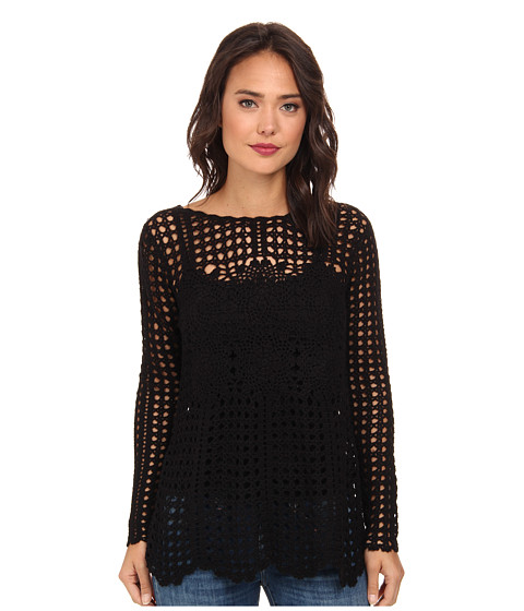 Free People - Filet Crochet Sweater (Black Combo) Women's Sweater