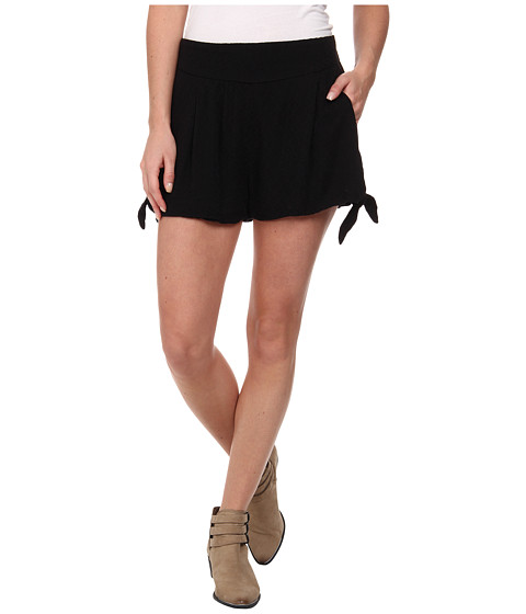Free People - Rayon Geometic Jacquard Solid Tie Short (Black) Women