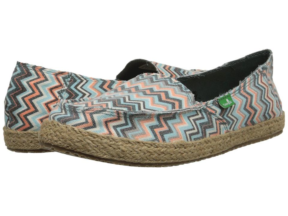 Sanuk - Funky Fiona (Mallard Chevron) Women's Slip on Shoes