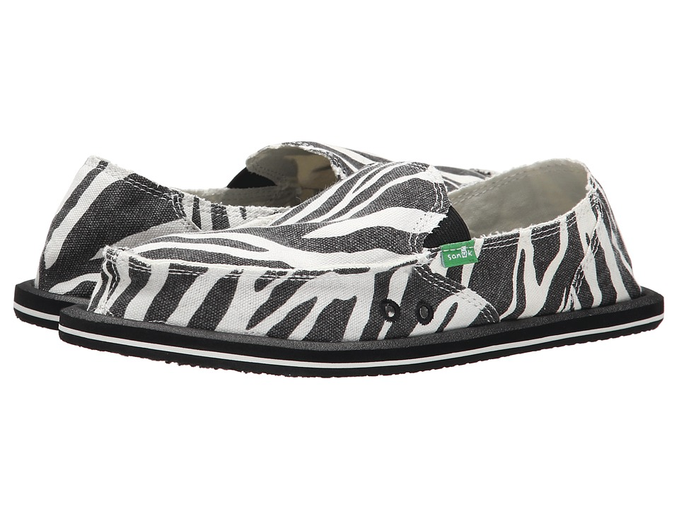 Sanuk - I'm Game (Zebra Black/White) Women's Slip on Shoes