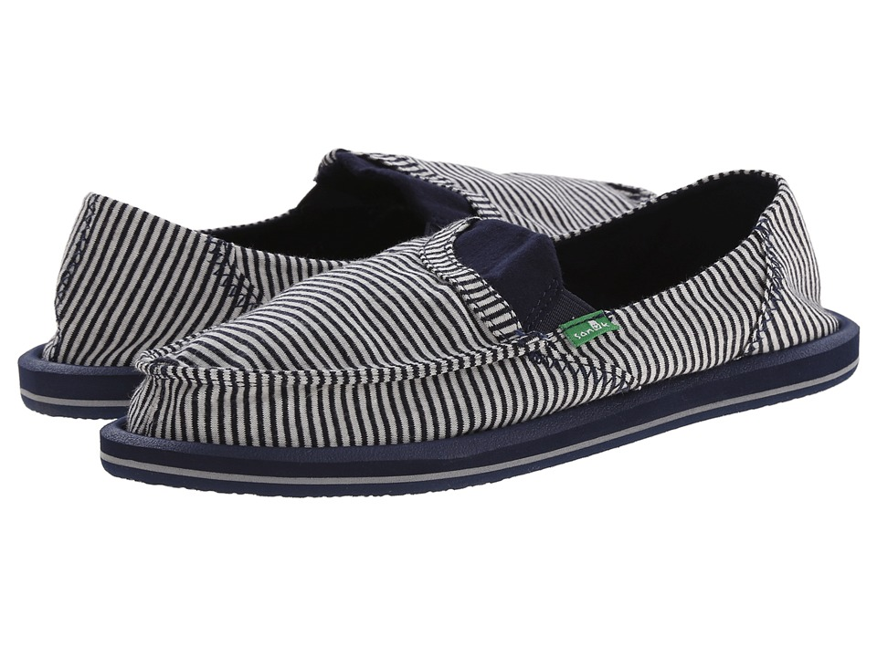 Sanuk - Pick Pocket Tee (Navy Stripes) Women's Slip on Shoes