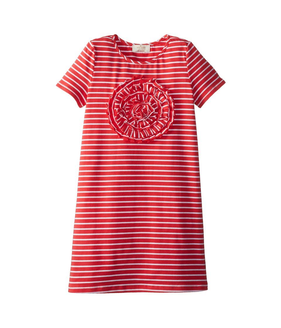 Kate Spade New York Kids - Rosette Applique Dress (Big Kids) (Geranium/White) Girl's Dress