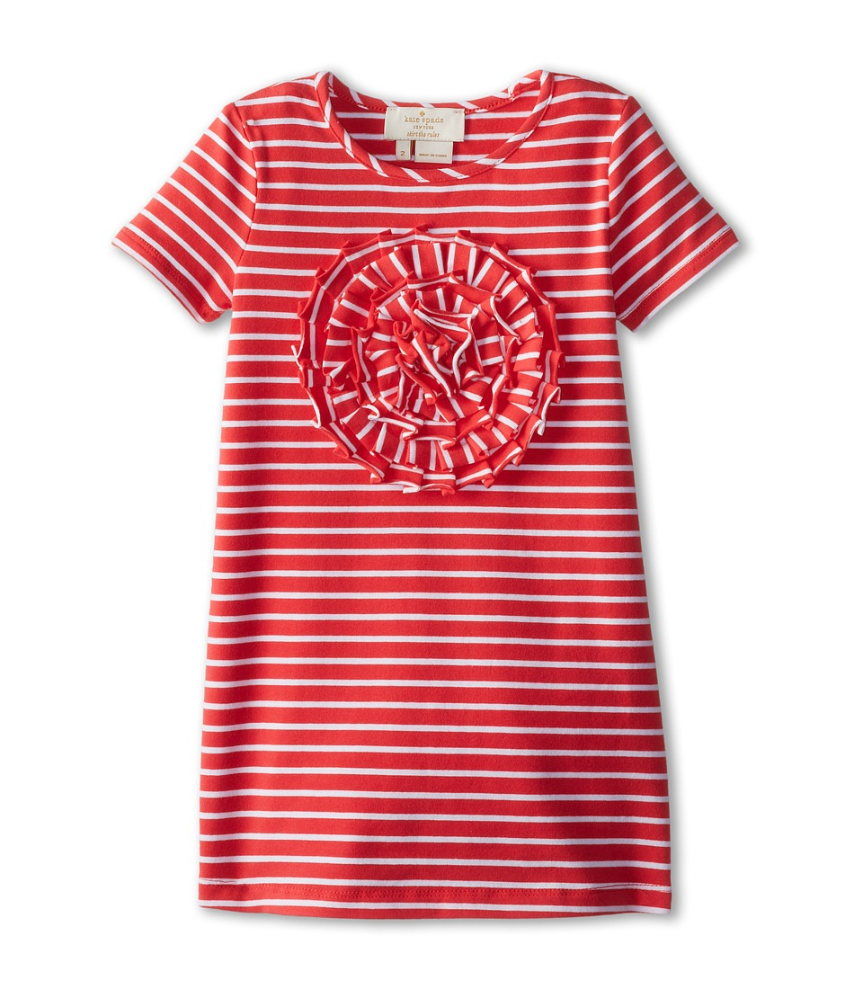 Kate Spade New York Kids - Rosette Applique Dress (Toddler/Little Kids) (Geranium/White) Girl's Dress