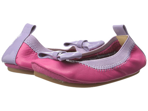 Yosi Samra Kids - Suzie Super Soft Ballet Flat w/ Bow (Toddler/Little Kid/Big Kid) (Popsicle Pink/Lilac Leather) Girls Shoes