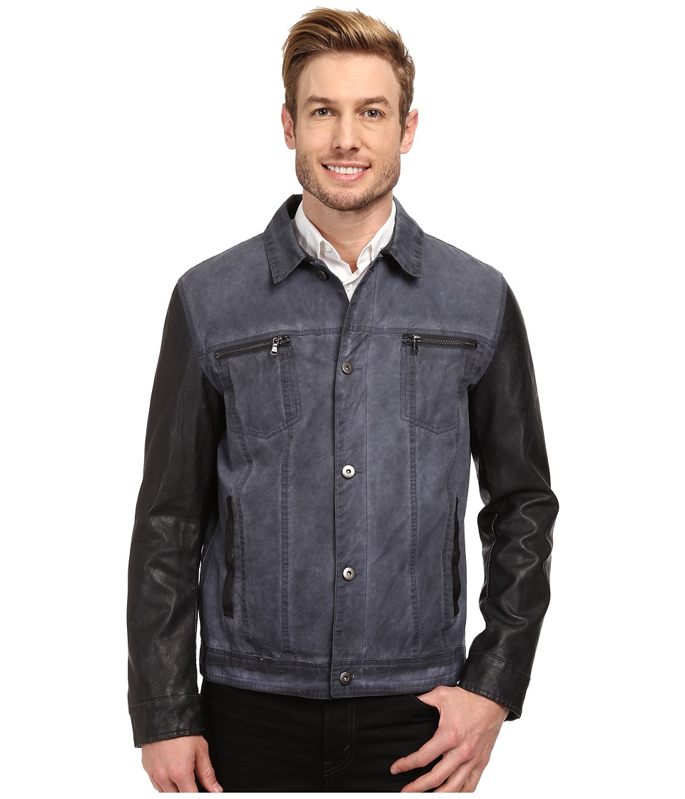 Kenneth Cole New York - Denim Zip Front Jacket (Smoke Blue) Men