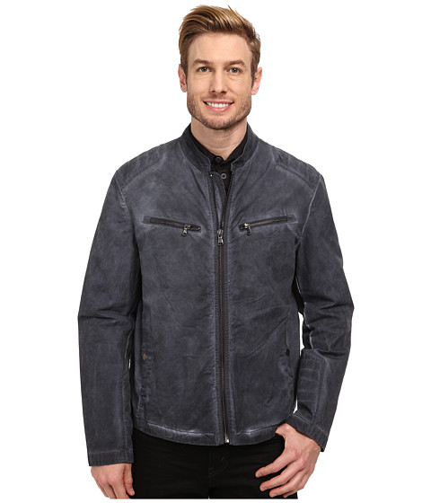 Kenneth Cole New York - Cotton Zip Front Jacket (Smoke Blue) Men's Coat