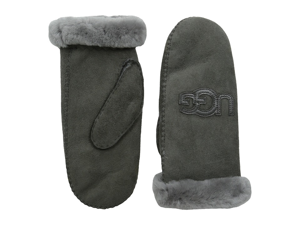 UGG - Heritage Logo Mitten (Grey Multi) Extreme Cold Weather Gloves
