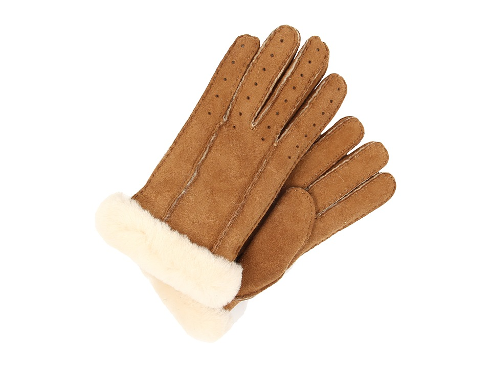 UGG - Classic Perforated Two Point Glove (Chestnut) Extreme Cold Weather Gloves