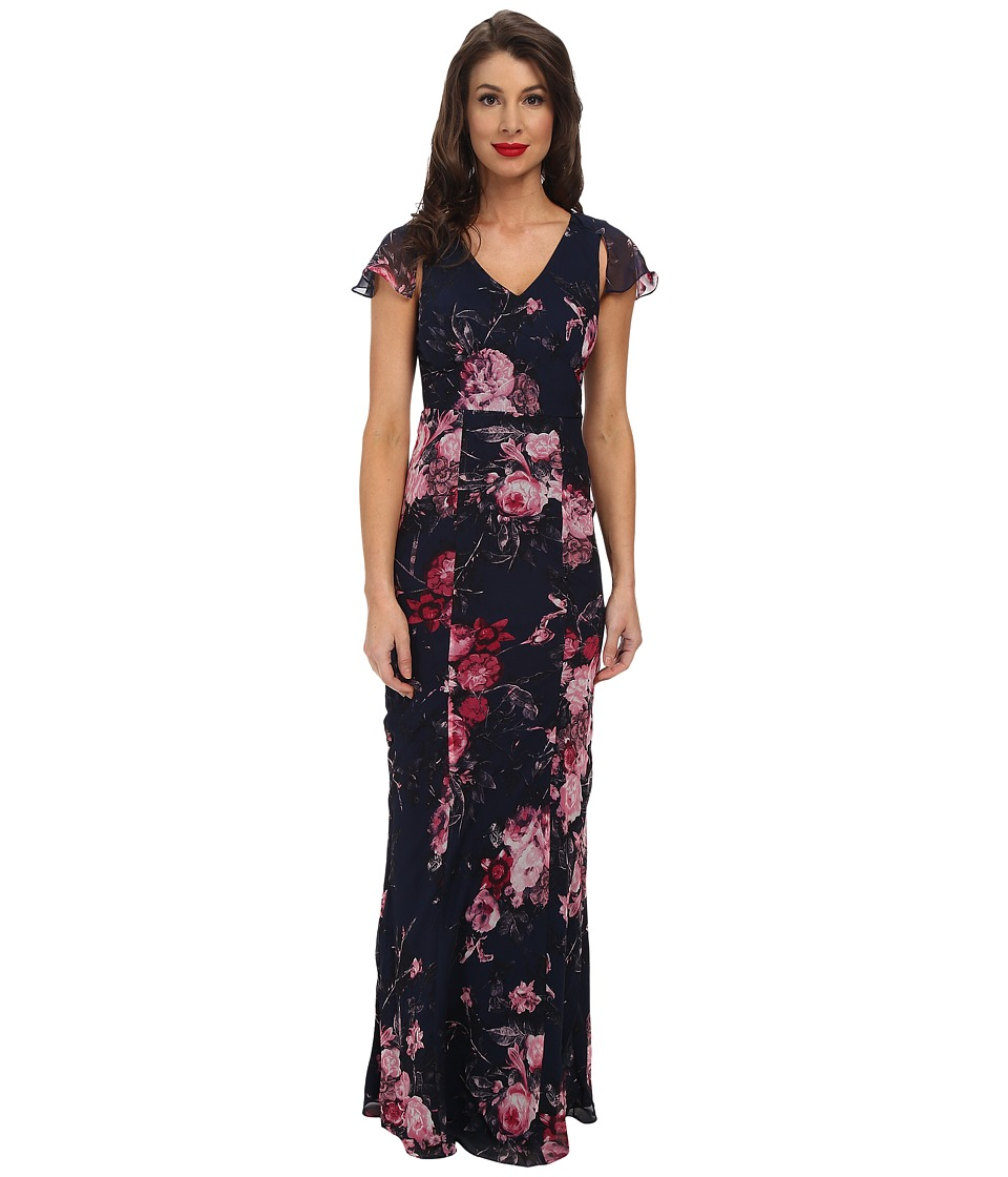 Unique Vintage - Chiffon Bergman Maxi Dress (Navy Floral Print) Women