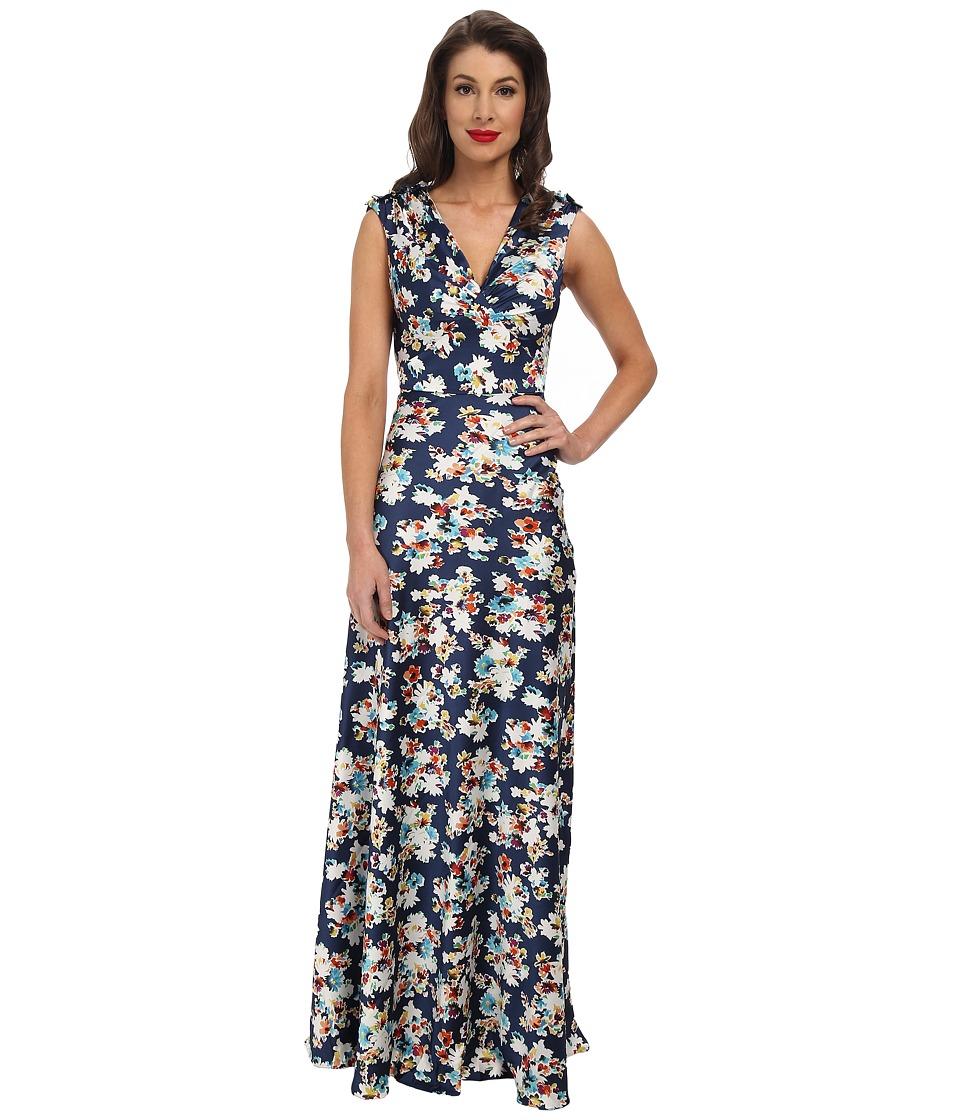 Unique Vintage Satin Harlow Dress (Navy Floral Print) Women
