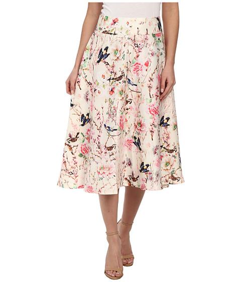 Unique Vintage - Midi Vivien Skirt (Ivory Floral Print) Women's Skirt