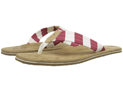 Original Penguin - Sripe Thong (Off White/Biking Red) Men's Shoes