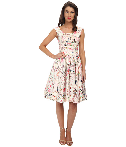 Unique Vintage - Roman Holiday Dress (Ivory Floral Print) Women's Dress