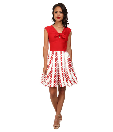 Unique Vintage - Cotton Downtown Dress (Red/White) Women's Dress