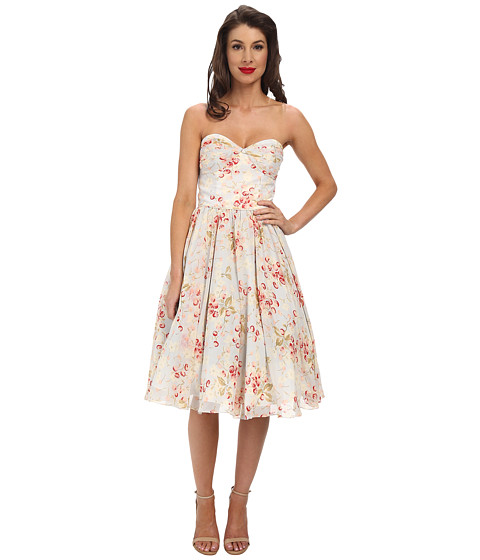 Unique Vintage - Chiffon Dandridge Dress (Blue Cherry Print) Women