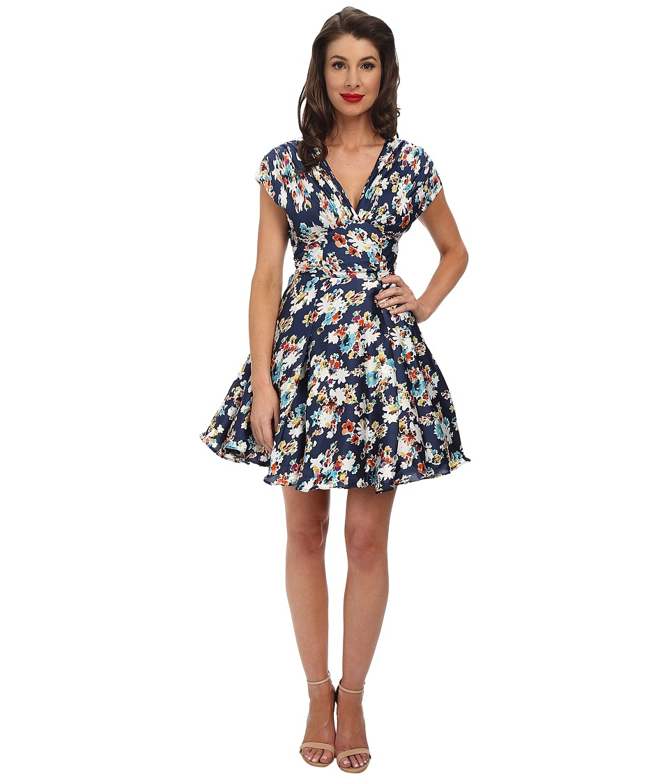 Unique Vintage - Sateen Olivia Dress (Navy Floral Print) Women