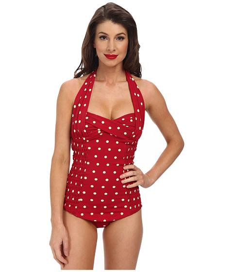 Unique Vintage - Darling One-Piece Swimuit (Red Polka Dot) Women
