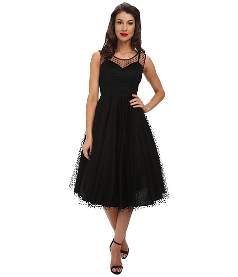Unique Vintage - Mesh Harnett Dress (Black Mesh Dot) Women