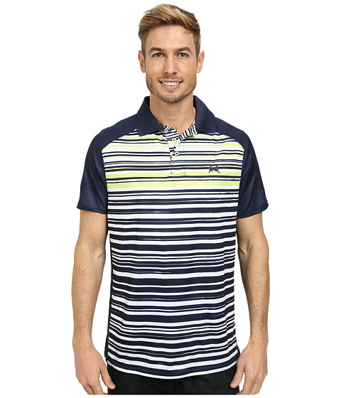 Cinch - Athletic Tech Polo Striped Shirt (Navy) Men