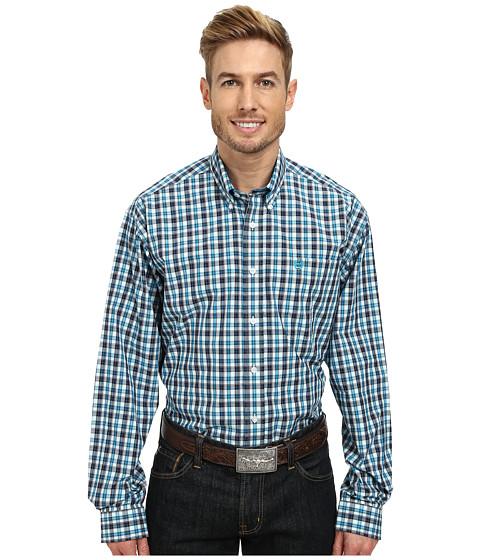 Cinch - Long Sleeve Plain Weave Plaid Double Shirt (White) Men's Long Sleeve Button Up