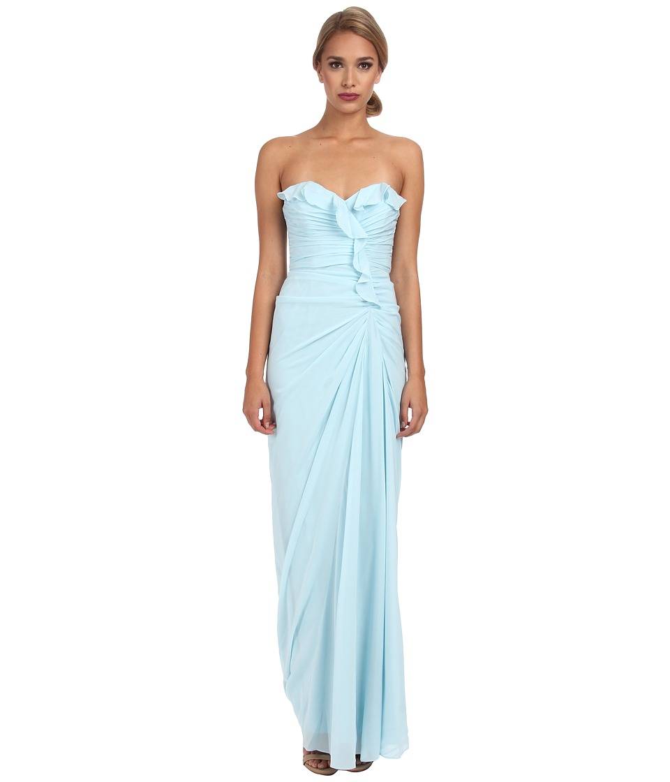 Badgley Mischka - Ruffle Strapless Gown (Sky) Women's Dress