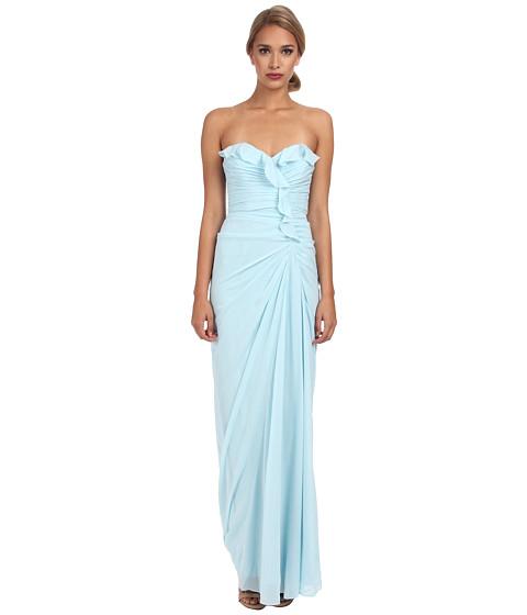Badgley Mischka - Ruffle Strapless Gown (Sky) Women