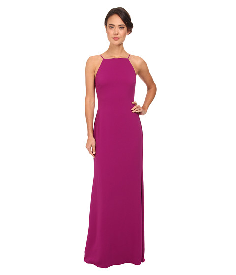 Badgley Mischka - Deep V-Back Pleated Gown (Orchid) Women's Dress