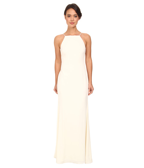 Badgley Mischka - Deep V-Back Pleated Gown (Ivory) Women