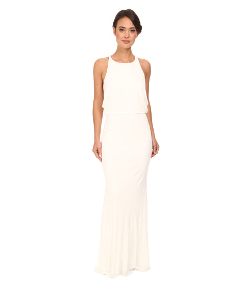 Badgley Mischka - Matte Jersey Drape Halter Gown (Ivory) Women's Dress