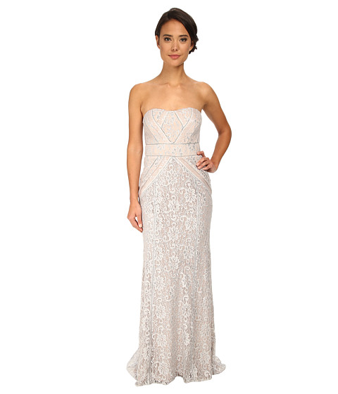 Badgley Mischka - Strapless Metallic Lace Runway Gown (Silver) Women