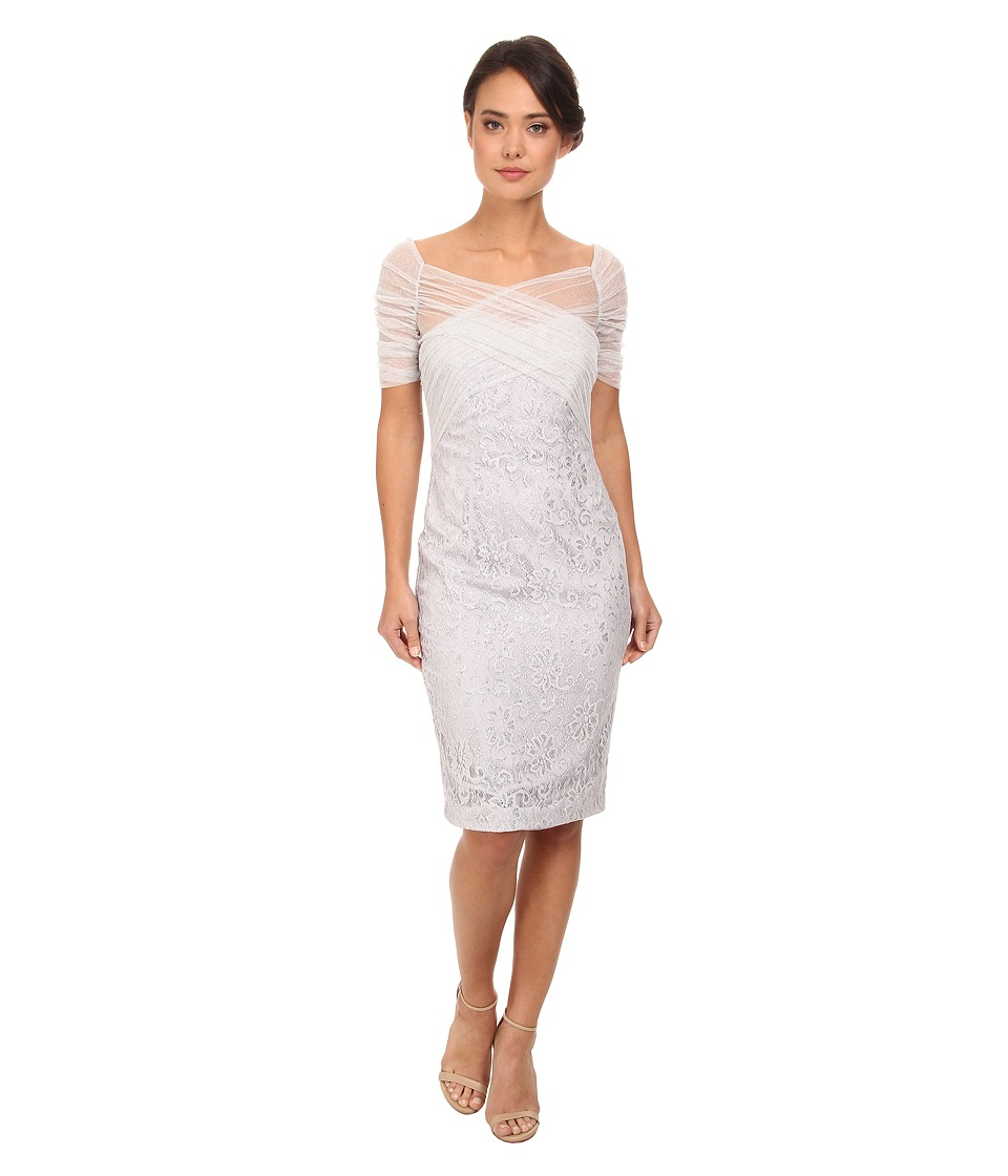 Badgley Mischka - Metallic Lace Stretch Tulle Cocktail Dress (Silver) Women