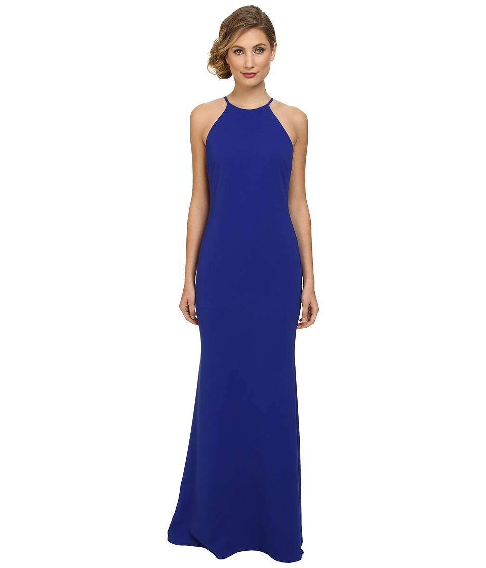 Badgley Mischka - Stretch Crepe Halter Gown (Cobalt) Women's Dress
