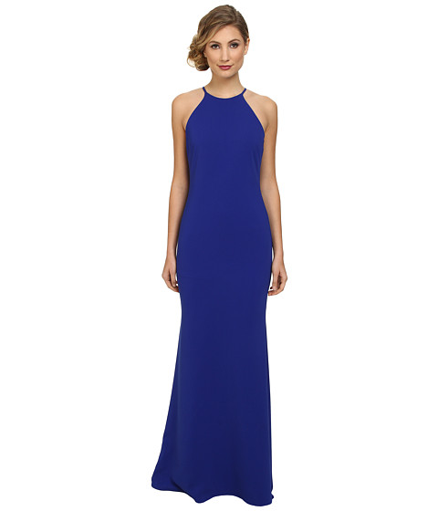 Badgley Mischka - Stretch Crepe Halter Gown (Cobalt) Women