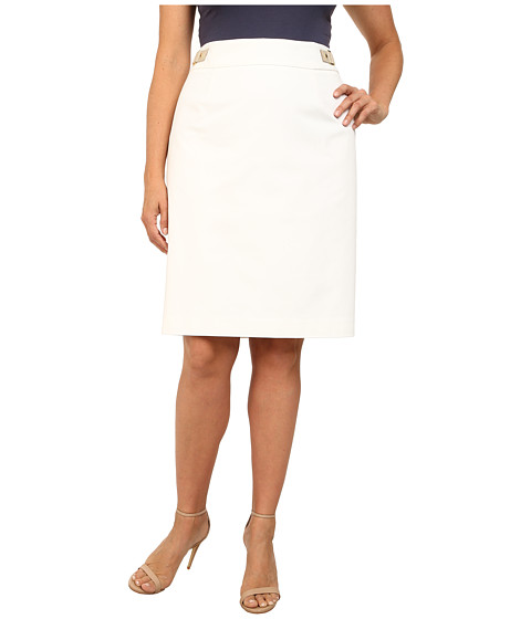 Calvin Klein Plus - Plus Size Pencil Skirt w/ Hardware (Soft White) Women