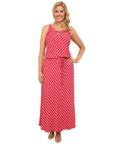 Calvin Klein Plus - Plus Size Stripe Keyhole Maxi Dress (Watermelon/Latte) Women's Dress