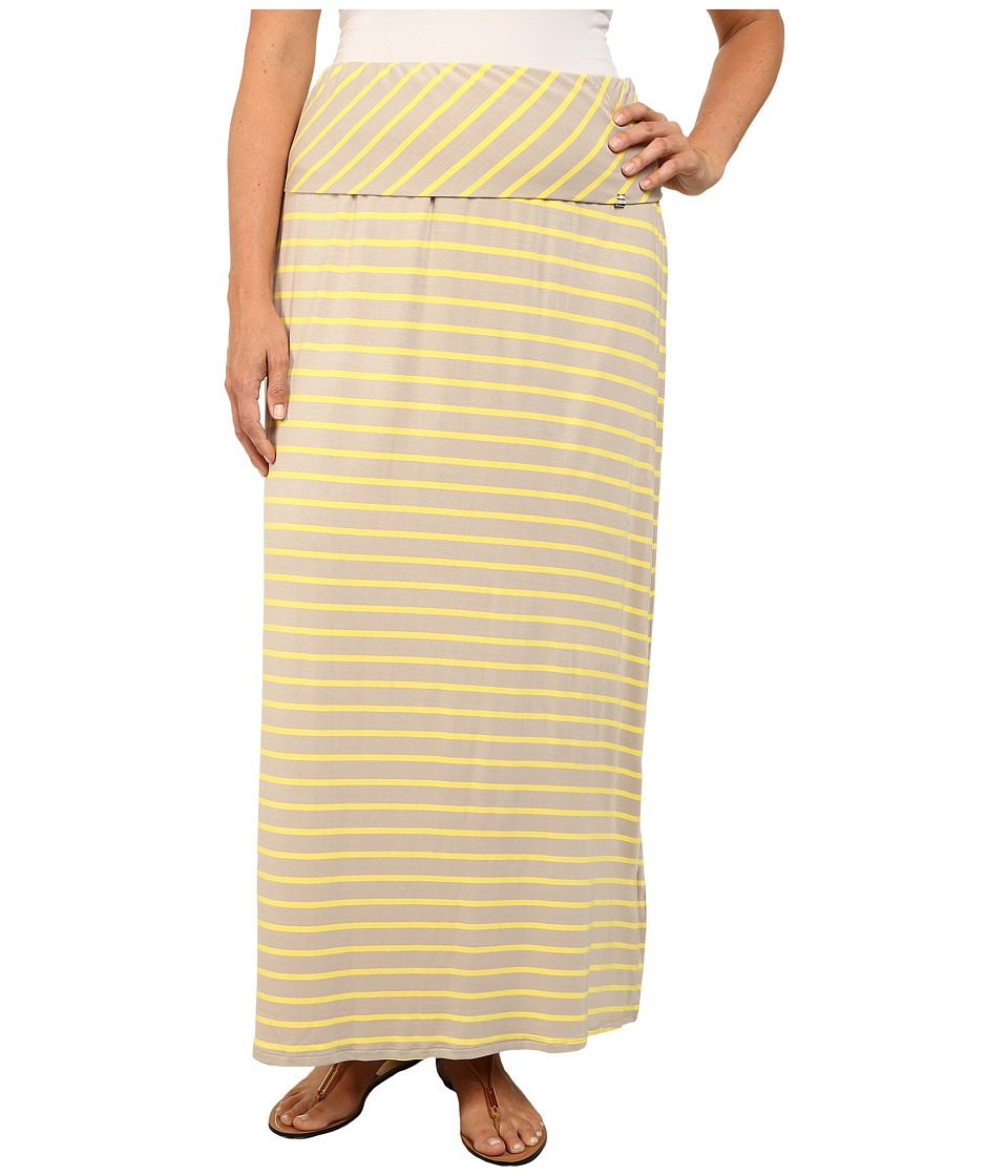 Calvin Klein Plus - Plus Size Thick Stripe Maxi Skirt (Latte/Koi) Women