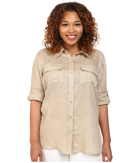 Calvin Klein Plus - Plus Size Knit Insert Roll Sleeve Blouse (Latte) Women