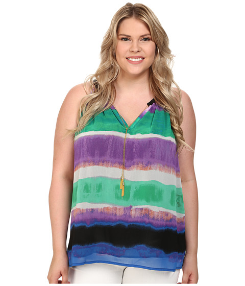Calvin Klein Plus - Plus Size Sleeveless Print Top w/ Chain (Grass Combo) Women
