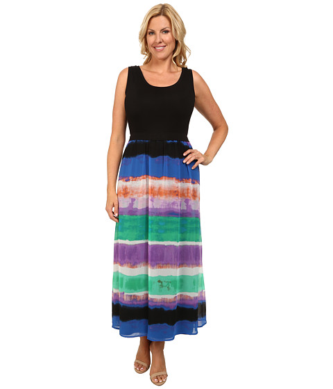 Calvin Klein Plus - Plus Size Maxi Dress w/ Print Chiffon Bottom (Grass Combo) Women's Dress