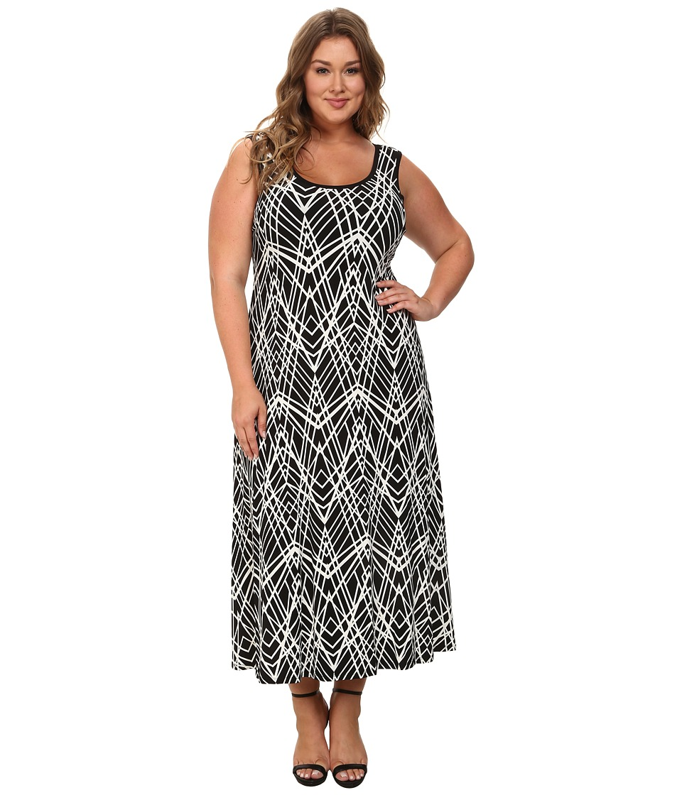 Calvin Klein Plus - Plus Size Tank Maxi Dress (Black Cross Hatch) Women's Dress