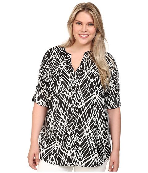 Calvin Klein Plus - Plus Size Printed Roll Sleeve Blouse (Black Cross Hatch) Women