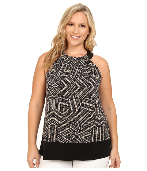 Calvin Klein Plus - Plus Size Print Trapunto Stitch Halter Top (Black Texture) Women's Clothing