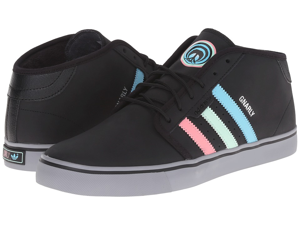 adidas Skateboarding - Seeley Mid Winter Gnarly (Core Black/Light Aqua/Super Pop) Men's Snow Shoes