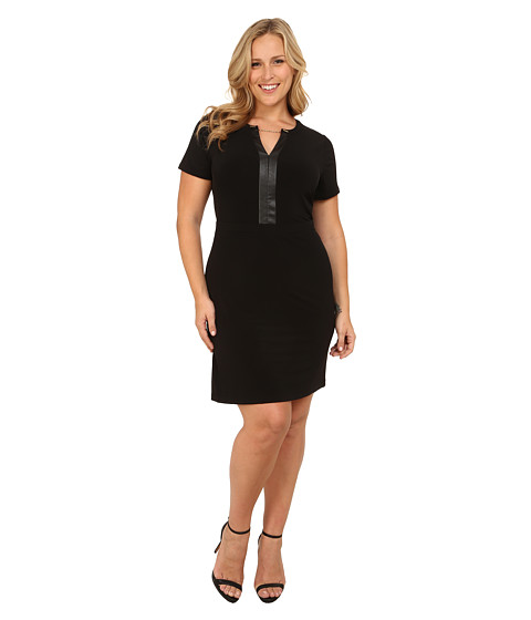 Calvin Klein Plus - Plus Size V-Neck Chain Dress (Black) Women's Dress