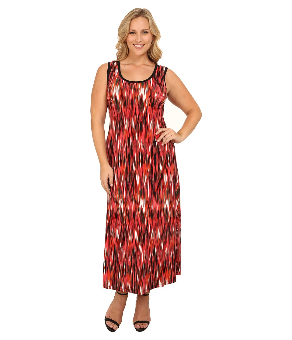Calvin Klein Plus - Plus Size Tank Maxi Dress (Tango/Black Multi) Women's Dress