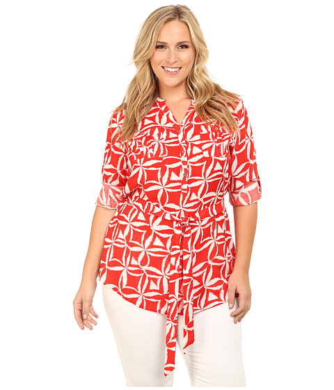 Calvin Klein Plus - Plus Size Tunic w/ Self Belt (Tango Multi) Women